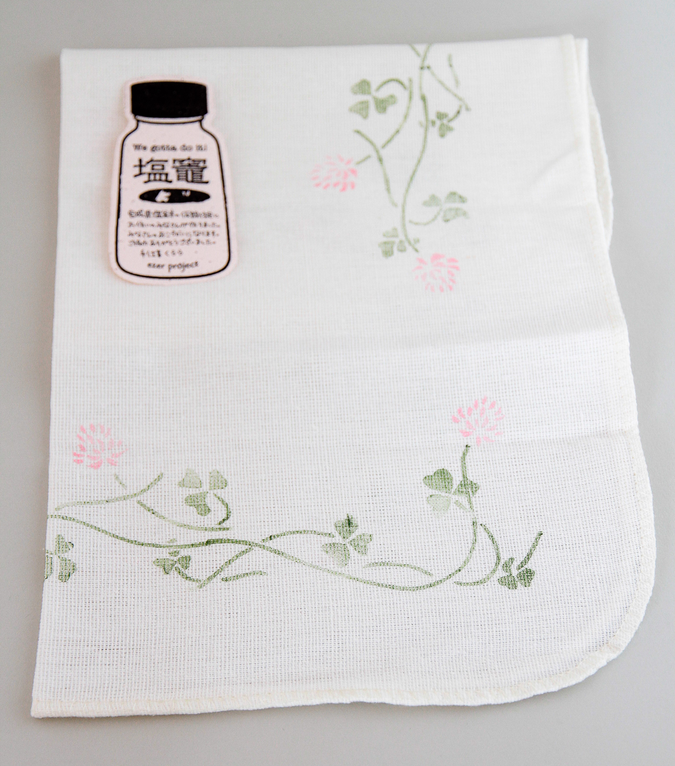 Dishwashing towel with handmade rubber stamp