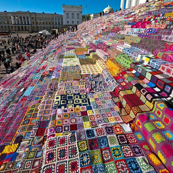 Yarn Bombed steps of Helsinki's Cathedral