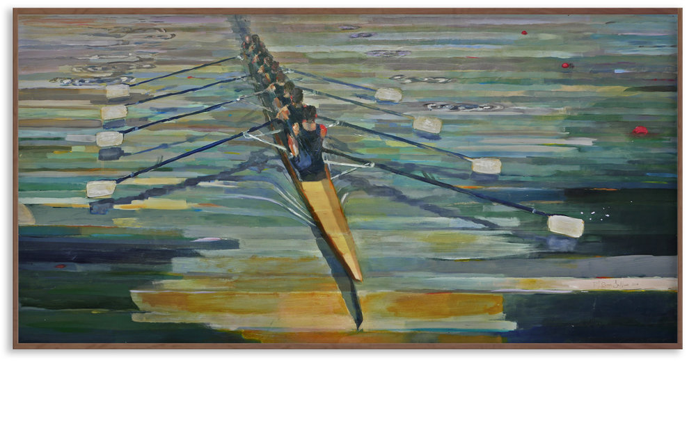 "Revere La Noue, 2106. ""Swing"" 36 x 72 in. a commissioned painting for the McConnell Family Boathouse at the University of Notre Dame"