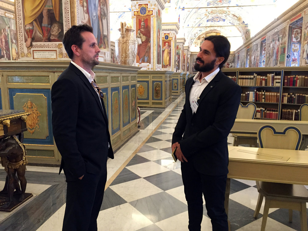 Revere La Noue with Giovanni Granati while filming in an undisclosed location in Rome.