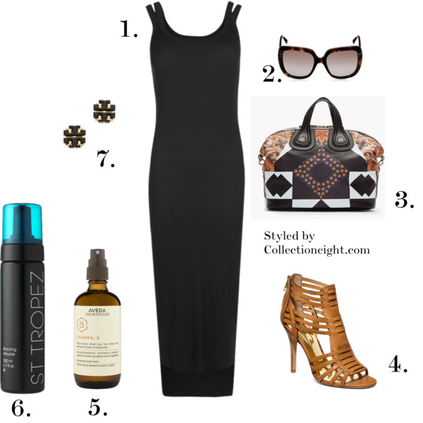 1.  AllSaints Colette dress 2. Dior Demoiselle glasses 3. Givenchy colorblock and paisley Nightingale bag 4. Coach Lucy heel 5. Aveda Chakra spray #2 6. St. Tropez dark bronzing mousse 7. Tory Burch large enamel logo earrings