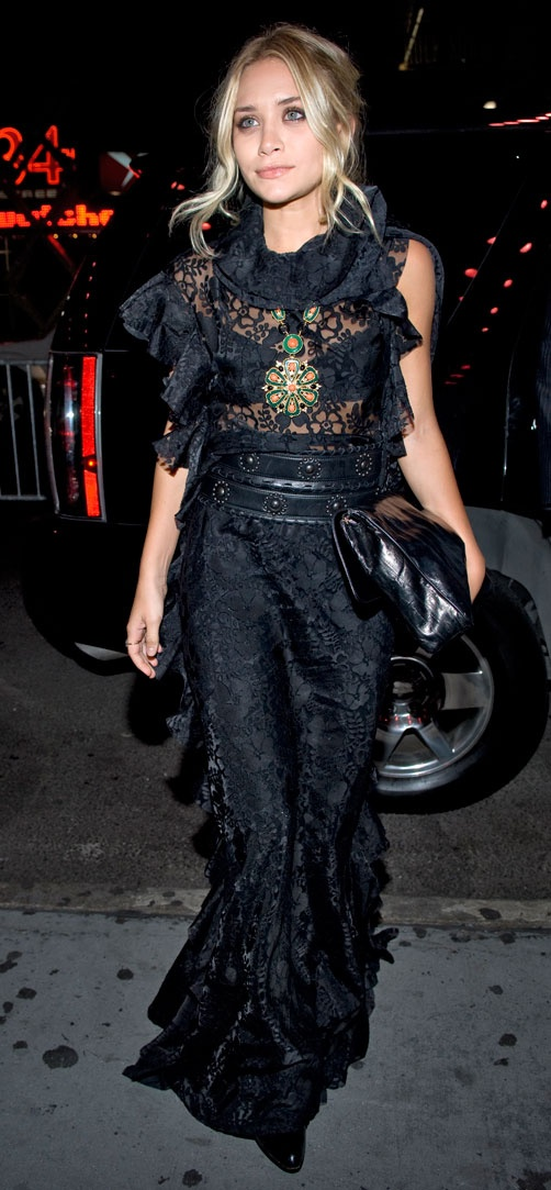 Ashley Olsen stuns in a romantic shape mixed with edgy accessories.