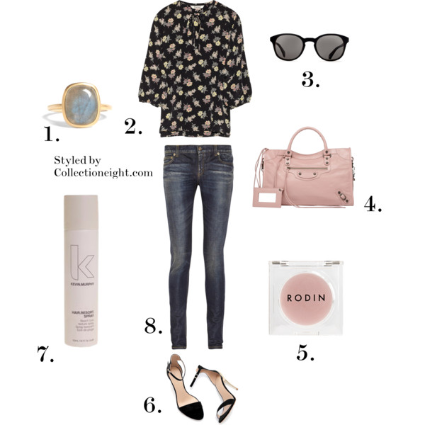1. Astley Clarke labradorite ring 2. Tucker floral top 3. Oliver Peoples Chaucer sunglasses 4. Balenciaga Classic City in rose peche 5. Rodin lip balm 6. Zara strappy heels 7. Kevin Murphy Resort spray 8. Saint Laurent low rise stretch denim skinny