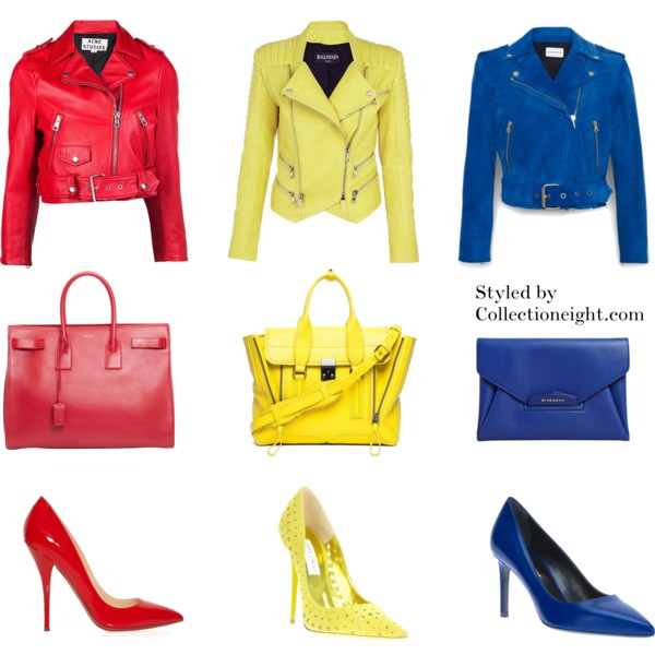 REDS Acne Mape leather jacket Saint Laurent Sac de Jour carry all Louboutin Batignolle patent pumps   YELLOWS Balmain quilted leather biker jacket 3.1 Phillip Lim medium Pashli shark embossed satchel in Electric Jimmy Choo perforated pump   BLUES Club Monaco Ela suede biker jacket Givenchy Antigonia clutch Saint Laurent pointed toe pump