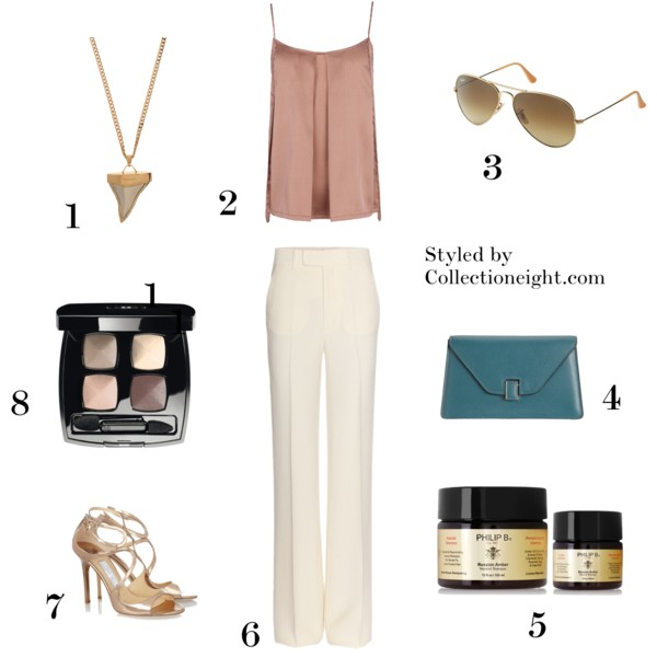 !. Givenchy Shark Tooth pendant 2. Stella McCartney Jodie Rocking cami 3. Ray Ban large aviators 4. Valextra Isis Gioiello mini clutch 5. Phillip B Russian amber imperial shampoo 6.  Miu Miu wide leg tailored trousers 7. Jimmy Choo Lang mirrored leather sandals 8. Chanel Les Ombres eye shadow quad