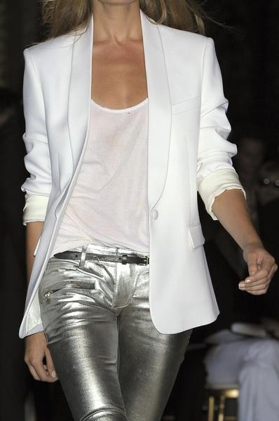 Metallic instead of denim creates a modern polished look.