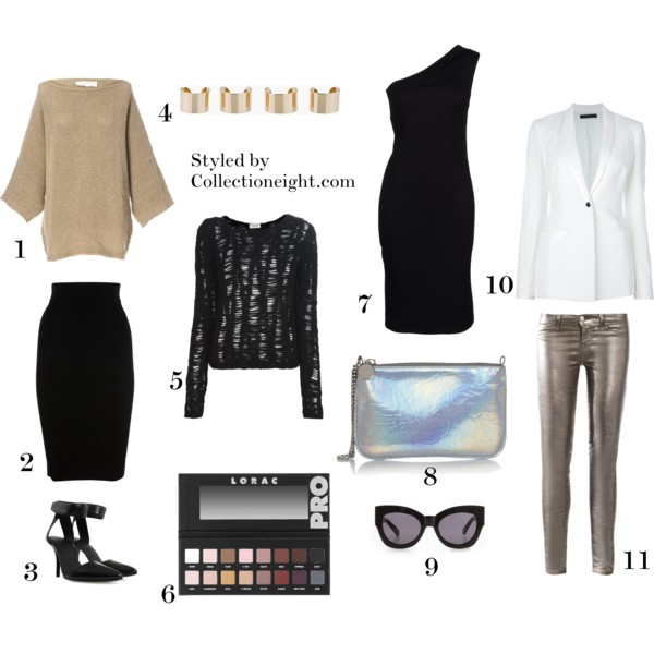 1. Zara batwing sweater 2. Karen Millen body con pencil skirt 3. Alexander Wang Liya shoes 4. Maison Martin Margiela gold knuckleduster rings 5. Saint Laurent chunky knit sweater 6. Lorac Pro Palette 7. DVF short dress 8. Stella McCartney Holographic faux leather pouch 9. Karen Walker Northern Light sunglasses 10. The Row shawl neck blazer 11. J Brand 901 metallic low rise skinny jeans