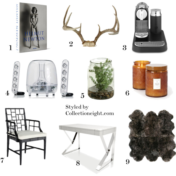 "1. Helmut Newton's ""Sumo"". I'm going to blow up some photographs and frame them  2. Some great antlers  3. My Nespresso Citiz  4. Harman Kardon speakers for the best blogging music  5. Some greenery  6. A great candle like this Baltic Amber one by Voluspa  7. A Chinese Chippendale chair  8. A white and chrome desk  9. A cozy sheepskin rug"