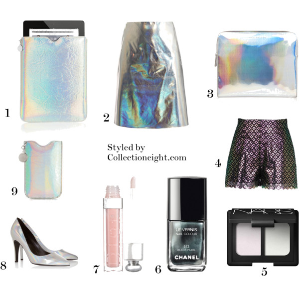 1. Stella McCartney Holographic faux leather iPad sleeve  2. Jonathan Saunders Clark silver foil skirt  3. Marc by Marc Jacobs Techno holographic vinyl laptop case  4. Stella McCartney Berna shorts  5. NARS eyeshadow duo in Iceland  6. Chanel Le Vernis nail polish in Black Pearl  7. Dior Addict Lip Maximizer  8. Pierre Hardy Holographic leather pumps  9. Stella McCartney faux leather iPhone sleeve