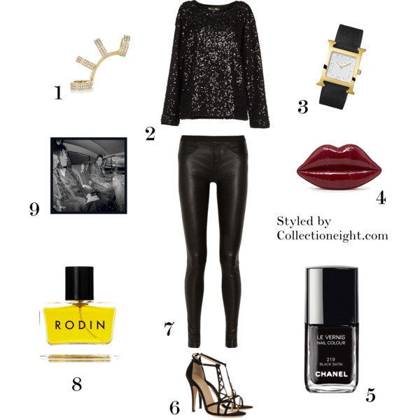 "1. Repossi Berbere 18-karat gold diamond ear cuff 2. Winter Kate sequin blouse 3. Hermes Heure H watch 4. Lulu Guinness Vintage red snakeskin Lips clutch 5. Chanel Le Vernis nail polish in Black Satin 6. Charlotte Olympia Marianne suede sandals 7. Helmut Lang stretch leather leggings 8. Rodin Olio Lusso parfum 9. The Kills ""The Future Starts Slow"""