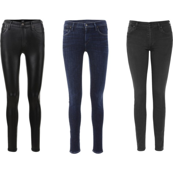 From left to right:   Black leatherette  Dark denim  Black Goth