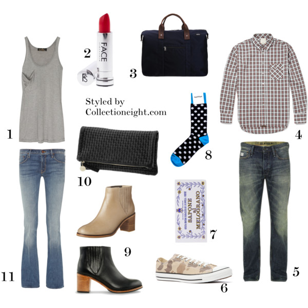"1. Kain classic silk and modal tank  2. Face Stockholm Vibrant Flame lipstick  3. Jack Spade Wing duffel  4. Billy Reid Walland plaid cotton shirt  5. Denam R7 washed jeans  6. Converse Lo Camo Chucks in safari  7. Santa Maria Novella bath soap  8. Etiquette polka socks  9. Wolverine 1000 Mile ARC boots  10. Claire Vivier fold over clutch  11. Mother ""slacker"" flares"