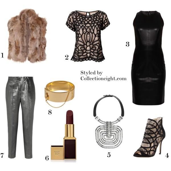1. Miu Miu ribbed knit fur vest  2. Day Birger Imperial lace top  3. The Row Bonded stretch leather dress  4. Jimmy Choo Fauna lace cage sandal  5. Lanvin Dedale Swarovski crystal necklace  6. Tom Ford Cherry Lush lipstick  7. Marlene Birger Sarafina houndstooth brocade tapered pants  8. Eddie Borgo Safety Chain cuff
