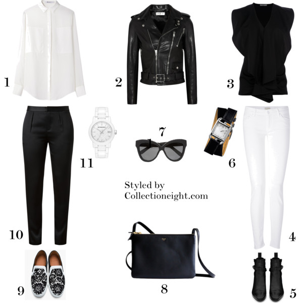 1. T by Alexander Wang silk chiffon shirt  2. Saint Laurent leather biker jacket  3. Givenchy fuffled blouse  4. Mother The Looker white skinny jeans  5. Saint Laurent Jodhpur boot  6. Hermes Cape Cod watch  7. Linda Farrow cat eye Watersnake glasses  8. Celine Trio  9. Givenchy lace skate shoes  10. Alexander Wand crepe satin tapered trousers  11. Burberry medium ceramic bracelet watch