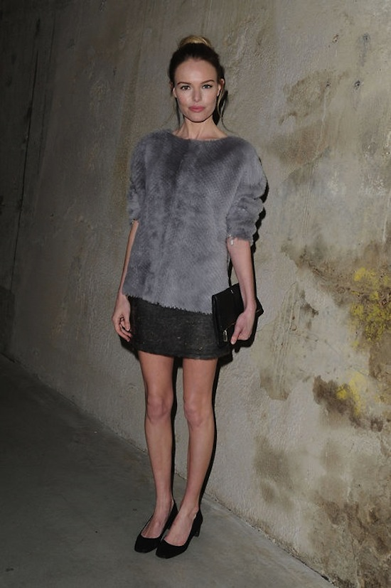 Kate Bosworth rocks grey fur and sequins