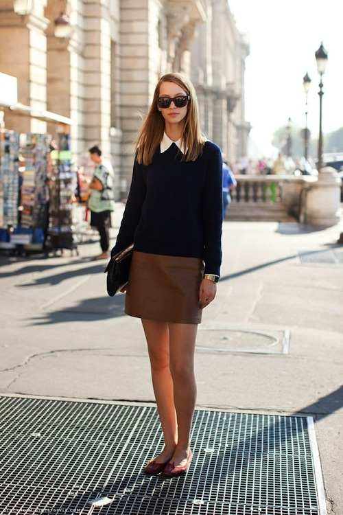 A leather skirt.