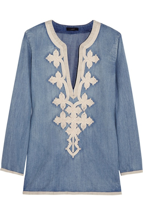 J Crew Soutache chambray tunic