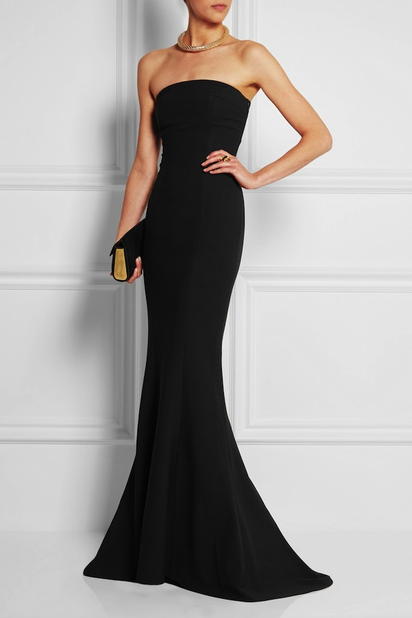 "Elizabeth and James ""Kendra"" strapless, stretch-crepe gown. $695"