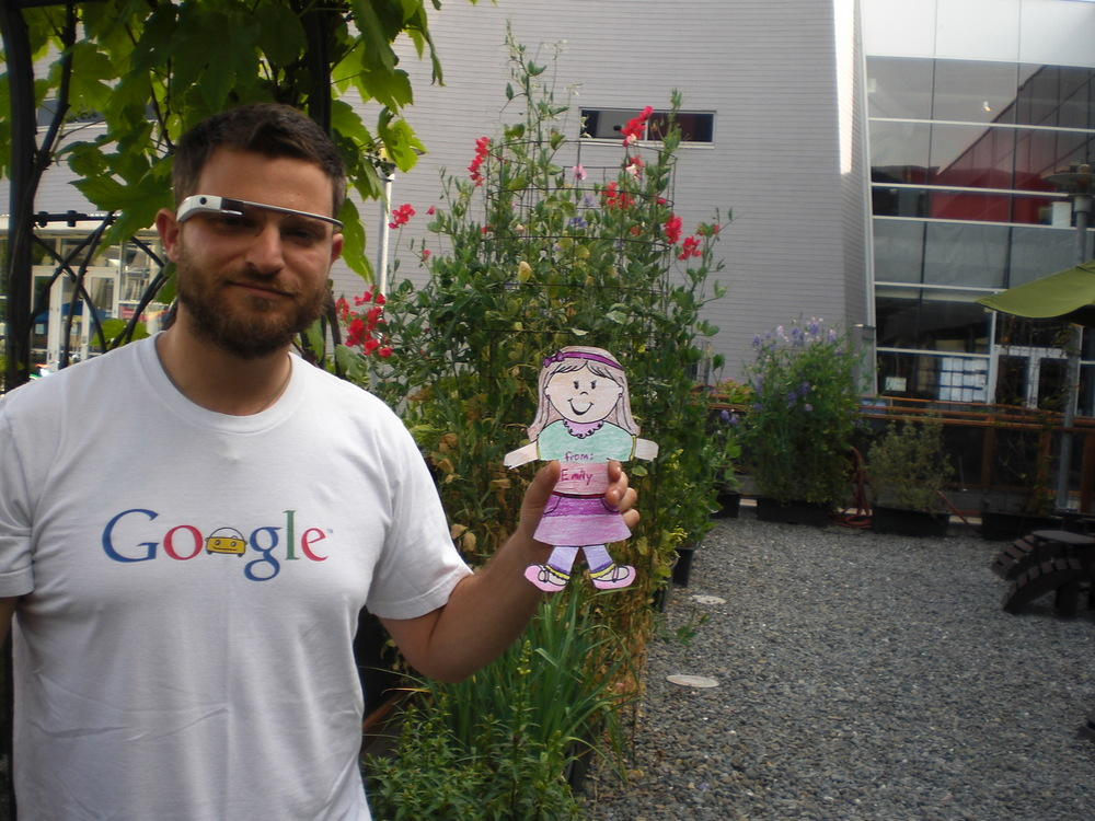 "Pete wearing Google Glass showing his ""Flat"" niece, Emily, around Google campus"