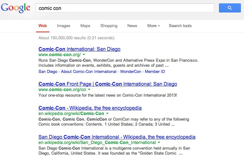 Comic Con Search Results
