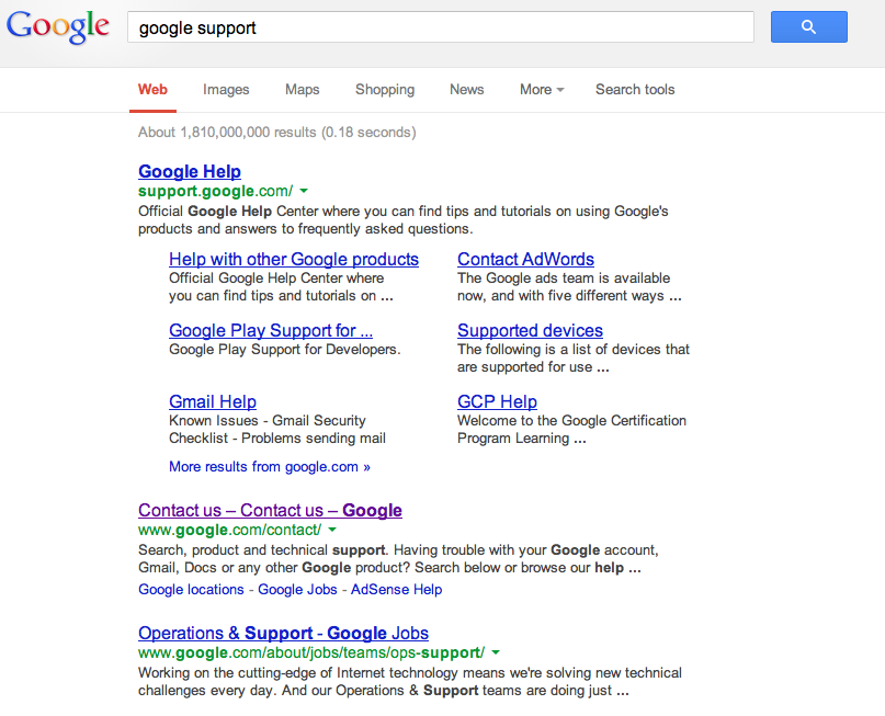Google Support Search