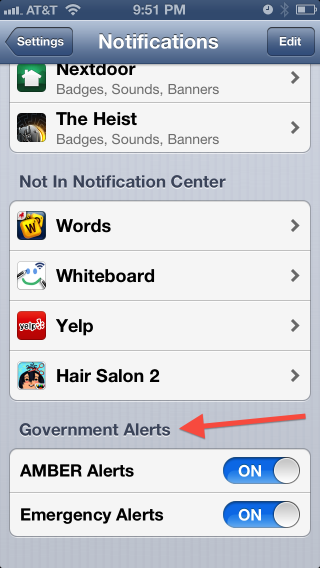 iPhoto Notification Settings Menu with an arrow pointing to the Government Notification section