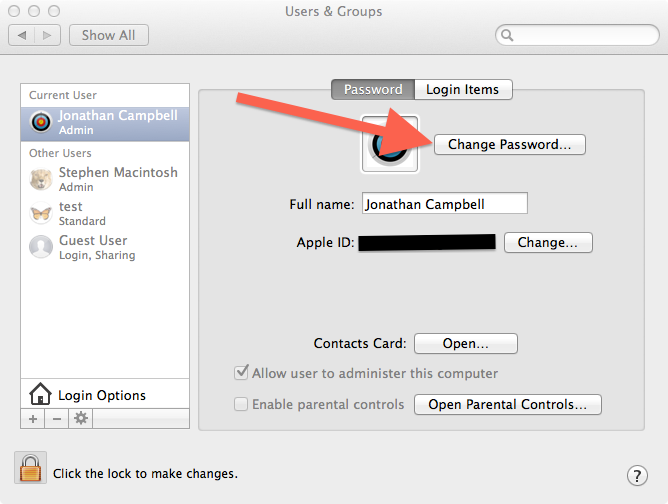 User & Groups System Preferences menu with an arrow pointing at Change Password menu.