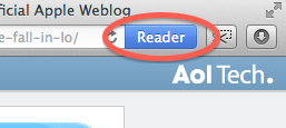 Close up of the Reader Button with an emphasis on the blue color.