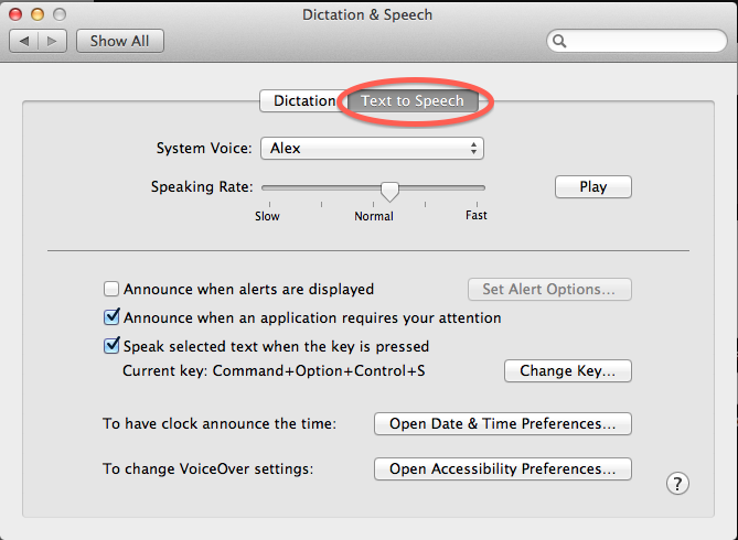 Dictation & Speech System Preferences Panel with the Text to Speech Tab highlighted.