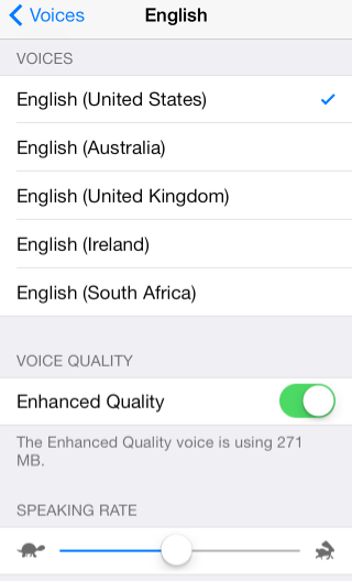 Speak Selection English Menu - Enhanced Quality Turned On.