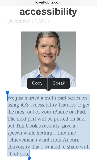 Safari With Article Open, Text Selected, and Speak Popup Visible.