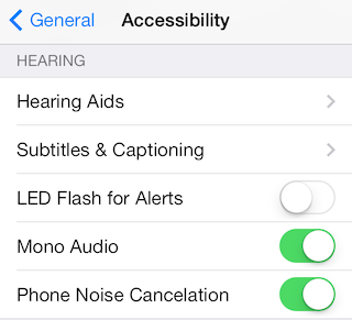 iPhone Accessibility Menu Hearing section.