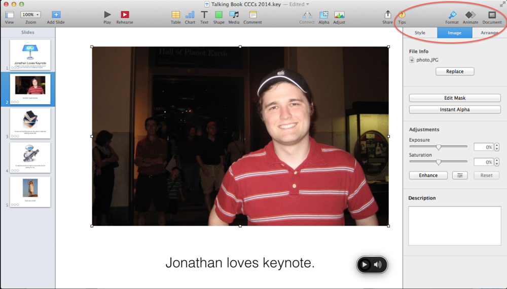 Screen Shot of Keynote with a red circle around the Format button