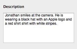 Screen shot of the Description text box in iWork.