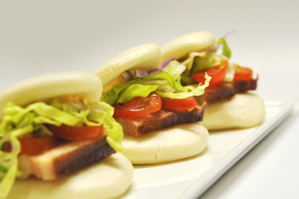 BLT buns, braised bacorn, spicy mayo, bao bun