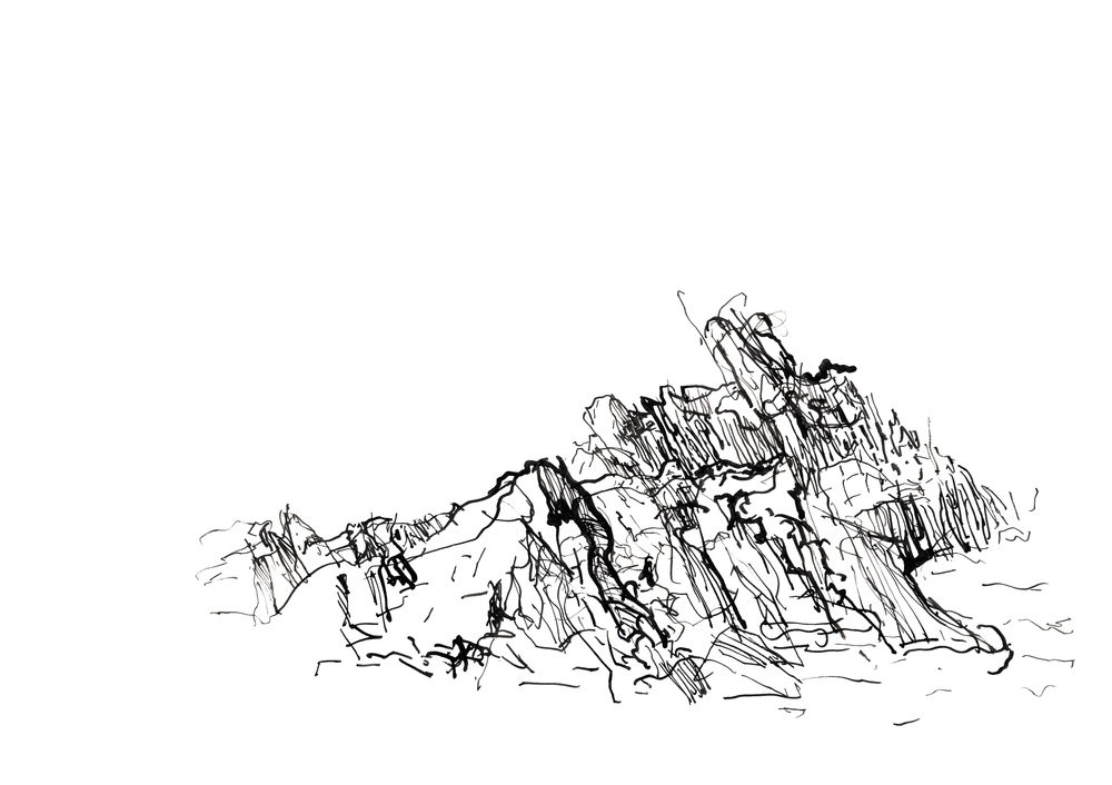 Coastal Study #1, Portsoy, Indian ink on tracing paper 2013