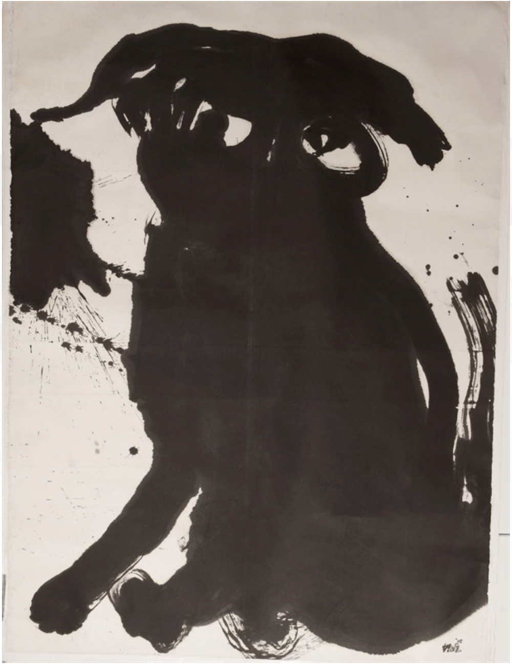 黑狗,200x145cm,水墨、水墨、宣纸,2005
