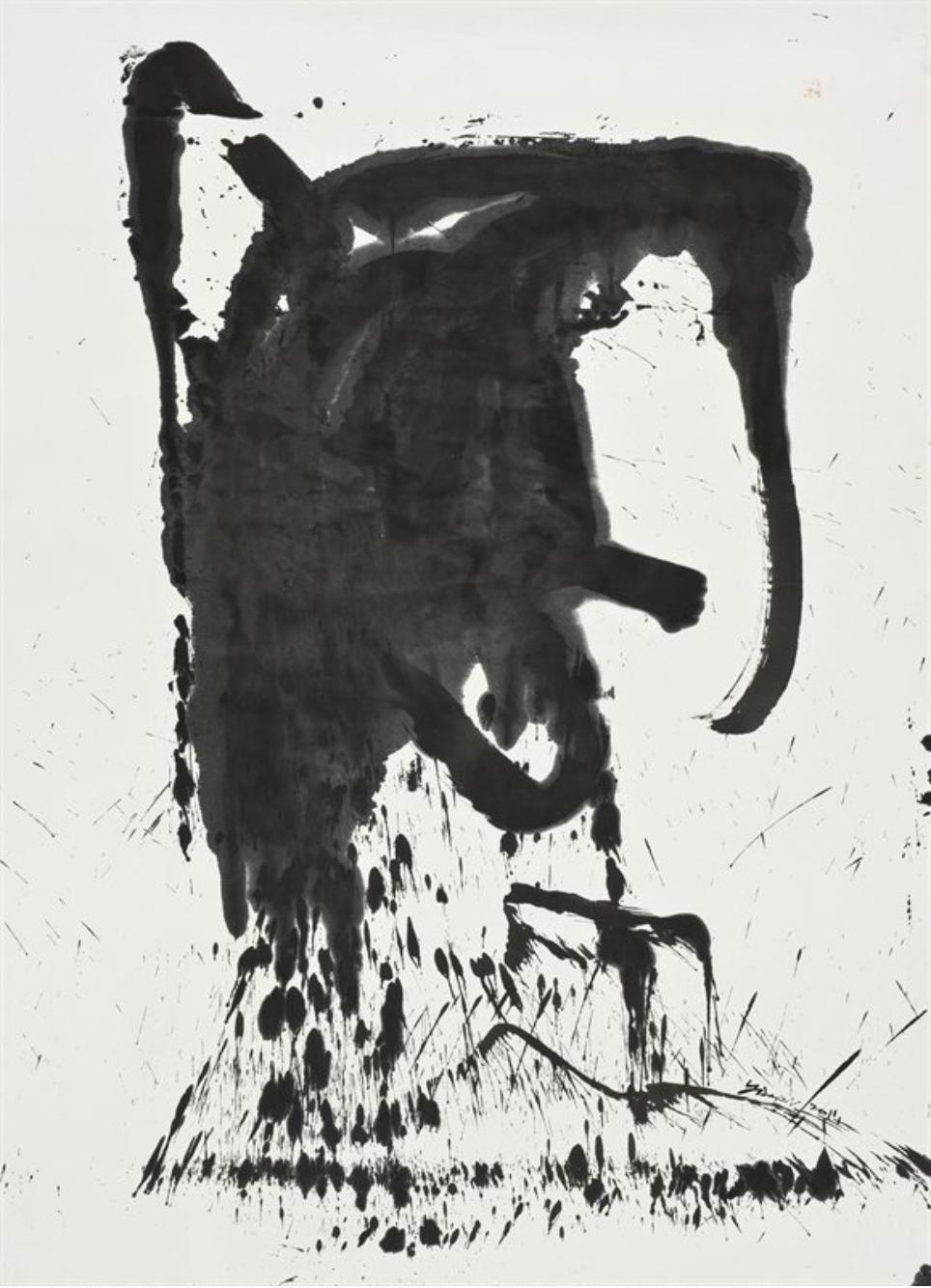 行气系列,200x147cm,水墨、宣纸,2011