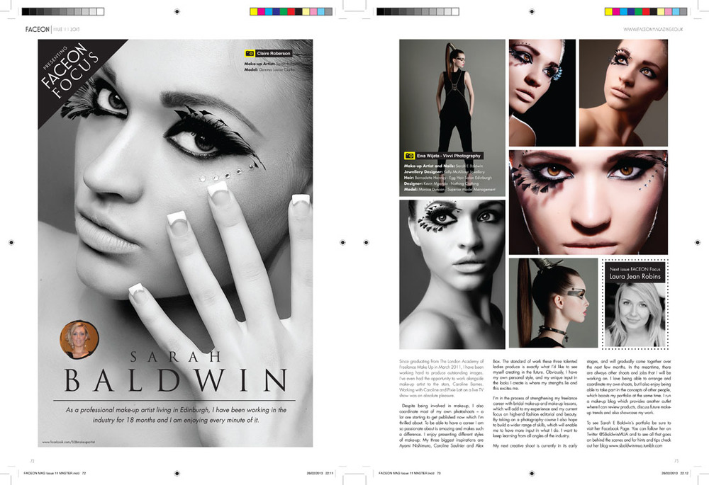 FACEON International Make Up Magazine Two Page Feature