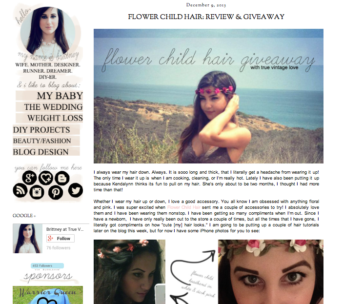 Click for True Vintage Love Full Feature: http://www.truevintagelove.com/2013/12/flower-child-hair-review-giveaway.html?m=1