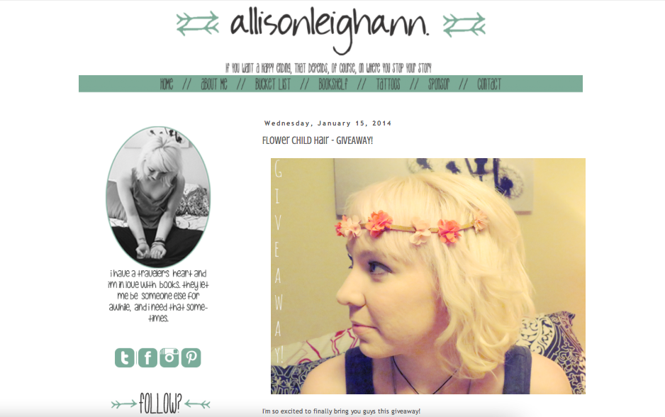 Click for Allison Leighann Full Feature: http://www.allisonleighann.com/2014/01/flower-child-hair-giveaway.html