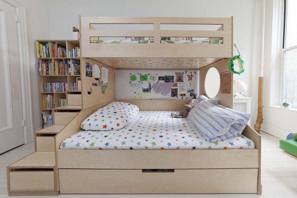 Omar casa kids for Bunk bed with double on bottom