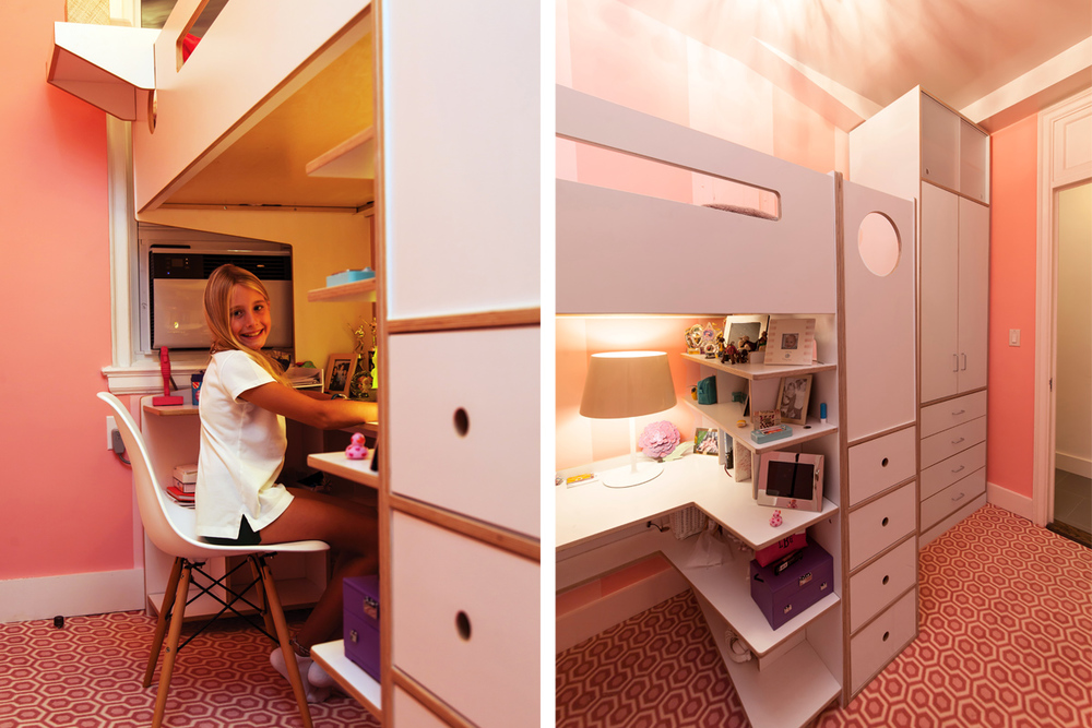casa kids storage space and desk under loft