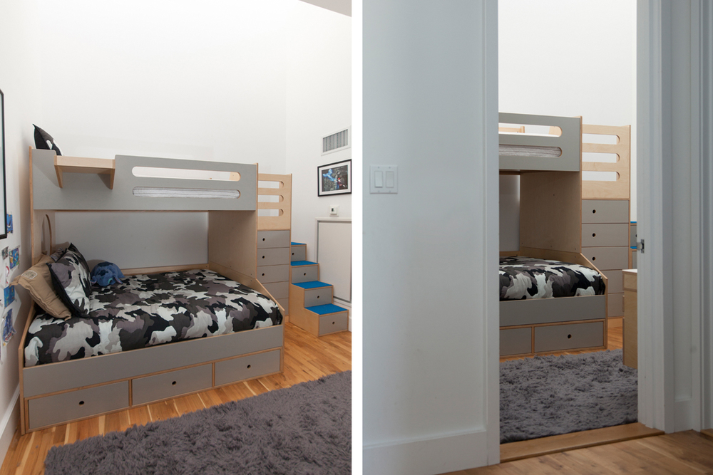bunk bed with gray accents