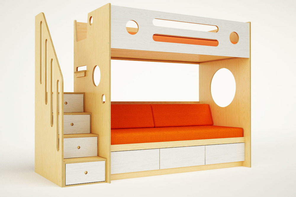 MARINO BUNK OVER DAYBED WITH STAIRS