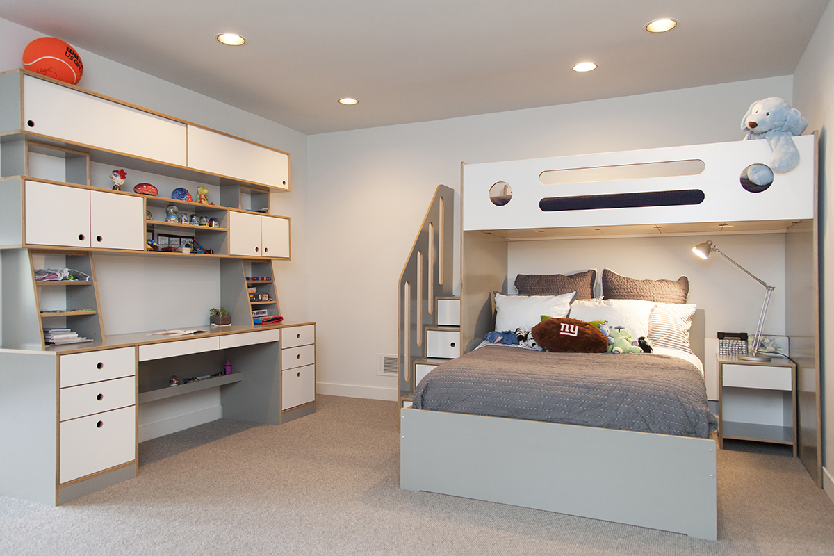Full size bed, night table and children's desk in gray plywood. Modern lines and a simple look.