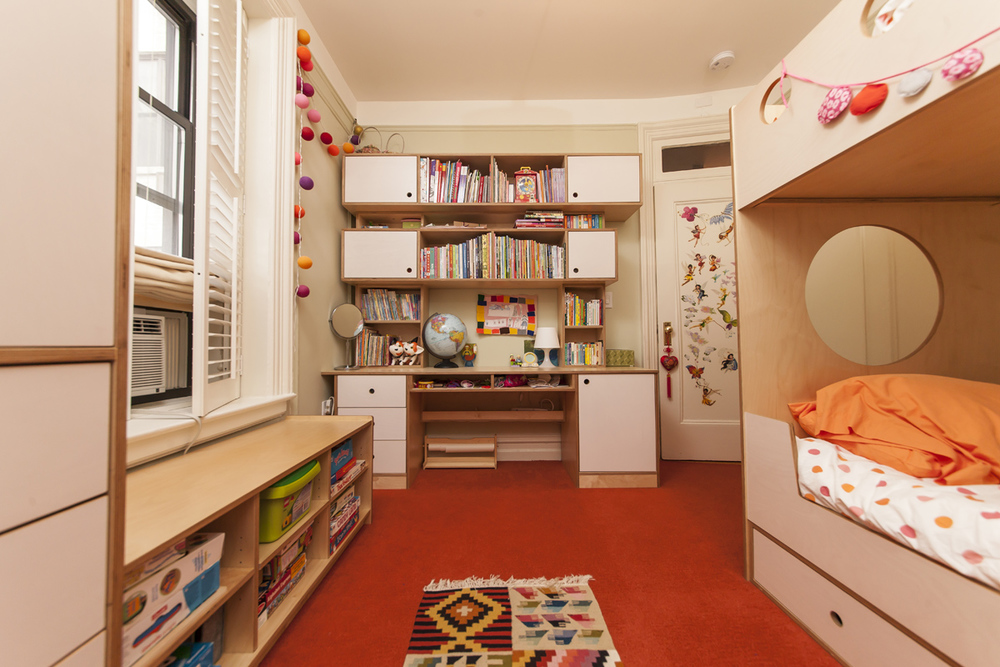 custom desk with shelving for children