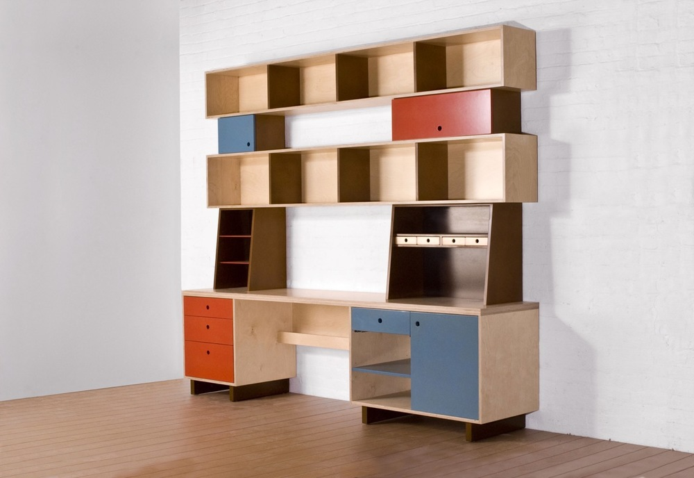 custom designed desk with storage cubbies