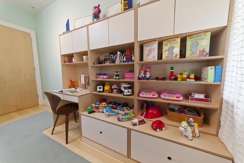 custom modern desk and storage space for kids