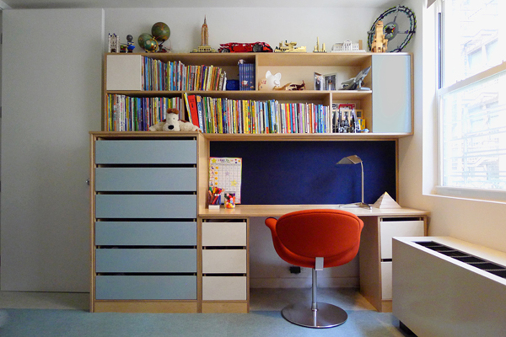 contemporary designed desk and storage space for teens